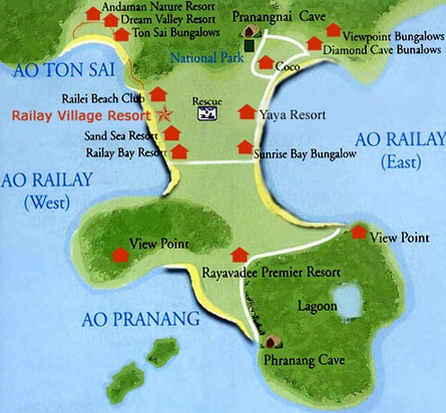railay beach map